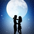 Stock Photo: Romantic couple in moonlight