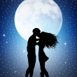 Stock Photo: Romantic couple in the moonlight