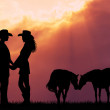 Stock Photo: Couple and horses