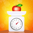 Stock Photo: Weighing scales food