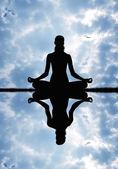 Yoga siluet — Stok fotoğraf