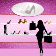Woman buy shoes — Stock Photo