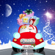 Santa Claus on car — Stock Photo