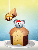 Mouse on panettone — Stock Photo