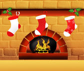 Christmas sock on fireplace — Stock Photo