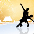 Couple skating on ice — Stock Photo