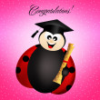 Ladybug with diploma — Stock Photo