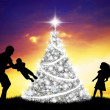 Happy family at Christmas — Stock Photo