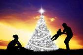 Noel mutlu bir aile — Stok fotoğraf