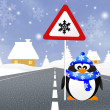 Penguin with snow sign — Stock Photo