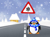 Penguin with snow sign — Stok fotoğraf