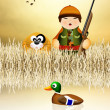 Hunter hunting ducks — Stock Photo