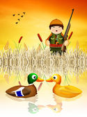 Hunter hunting ducks — Stock Photo