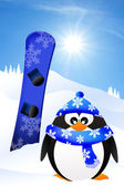 Penguin with snowboard — Stock Photo