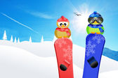 Birds with snowboard — Stockfoto