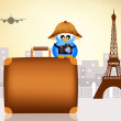 Bird traveling in Paris — Stock Photo