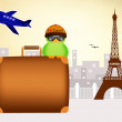 Stock Photo: Bird traveling in Paris