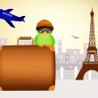 Bird traveling in Paris — Stock Photo