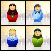 Matryoshka dolls collage — Zdjęcie stockowe