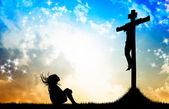 Flicka bön jesus — Stockfoto