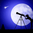 Woman looks into the telescope — Stock Photo