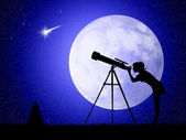 Woman looks into the telescope — Stock Photo
