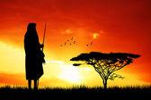 Masai at sunset — Stock Photo