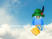 Bird with beer — Stockfoto