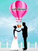 Gerade geheiratet — Stockfoto