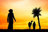 Bedouin at sunset — Stock Photo