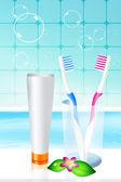 歯ブラシ、歯磨き粉 — ストック写真