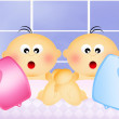 Stockfoto: Twins for hot water bag