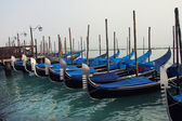 Gondolas in the fog — Stock Photo