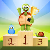Winner on podium — ストック写真