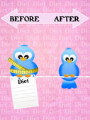 Before and after diet — 图库照片