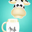 Foto Stock: Cow with milk