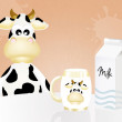 Cow with milk — Stockfoto #39389009