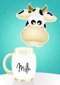 Koe met melk — Stockfoto
