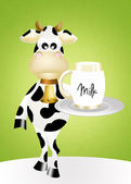 Cow with milk — Stock Photo