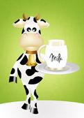Cow with milk — Stock Photo