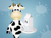 Cow with milk — Стоковое фото