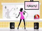Karaoke-Sänger — Stockfoto