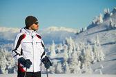 Skier on mountain — Stock Photo