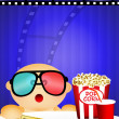 Child looks at the cinema in 3d — Stok fotoğraf