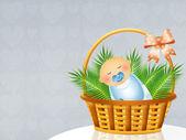 Criança na cesta — Fotografia Stock