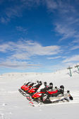 Snowmobile rentals — Stock Photo