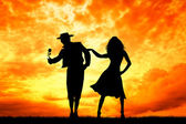 Couple dancing flamenco — Stock Photo