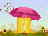 Rain boots and umbrella — Stock Photo