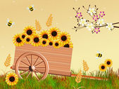 Handcart in spring — Stock Photo
