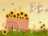 Handcart in spring — Stock Photo